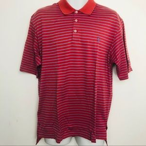 Polo golf men's red and blue striped shirt size M